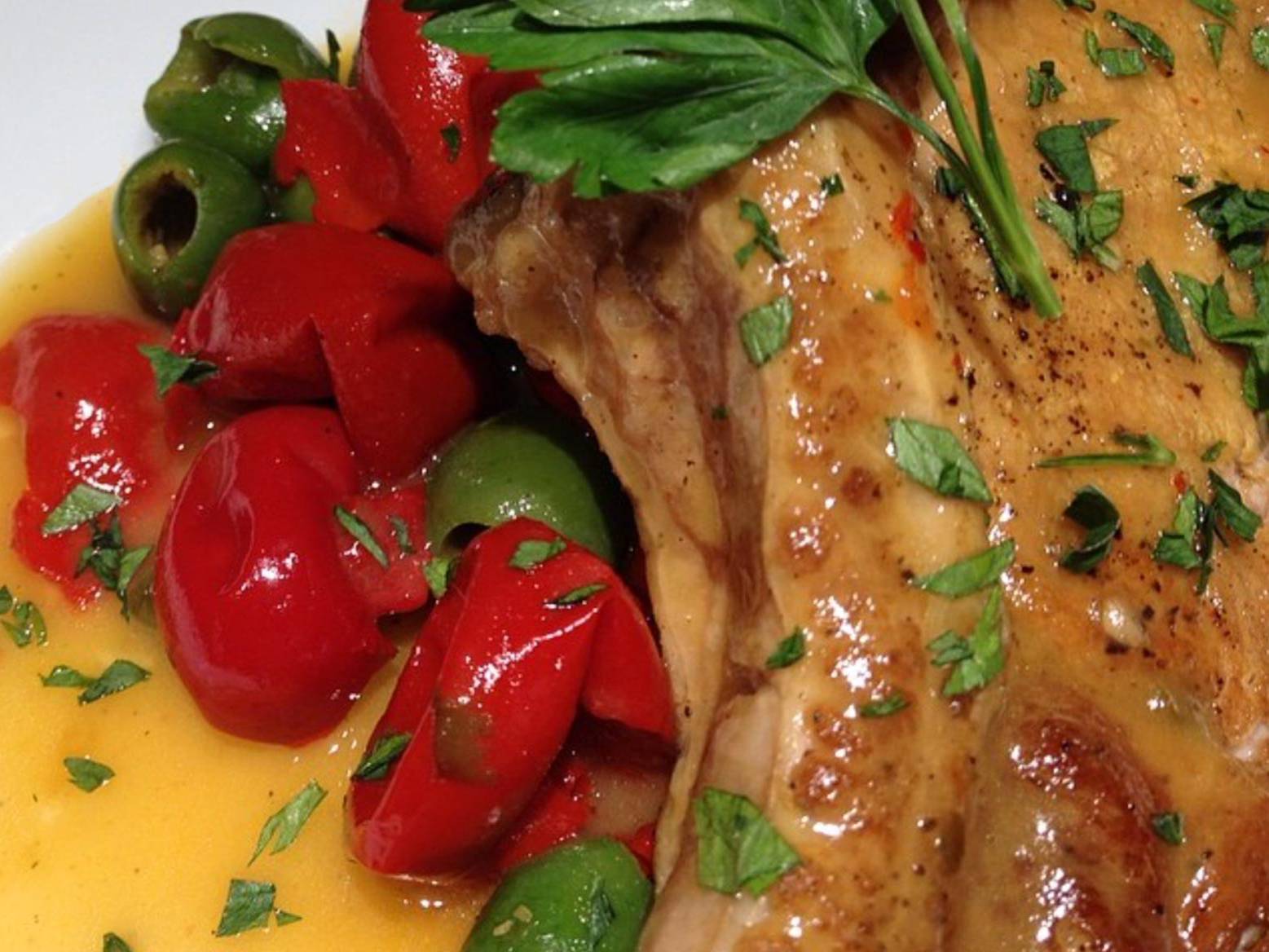 Pork chop and peppers dish.
